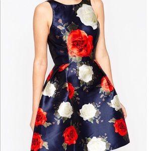 Chi Chi London Bold floral Rose Print Dress-ASOS